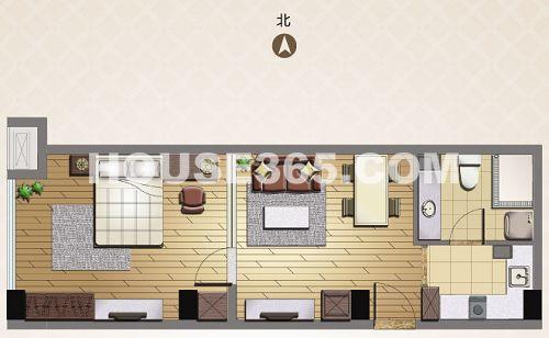 3房一厨一厅一卫设计图-社区   )C户型 资料图片   C户型:   1房1厅1卫1厨,面积约56.97㎡,