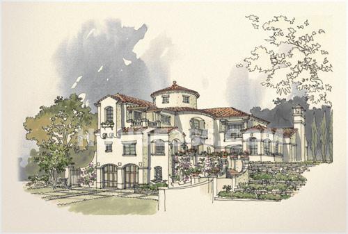 郡原列岛花园建筑手绘效果图