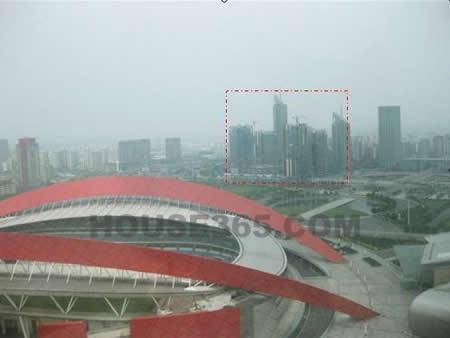 从奥体中心100米高观光塔上看雨润国际广场
