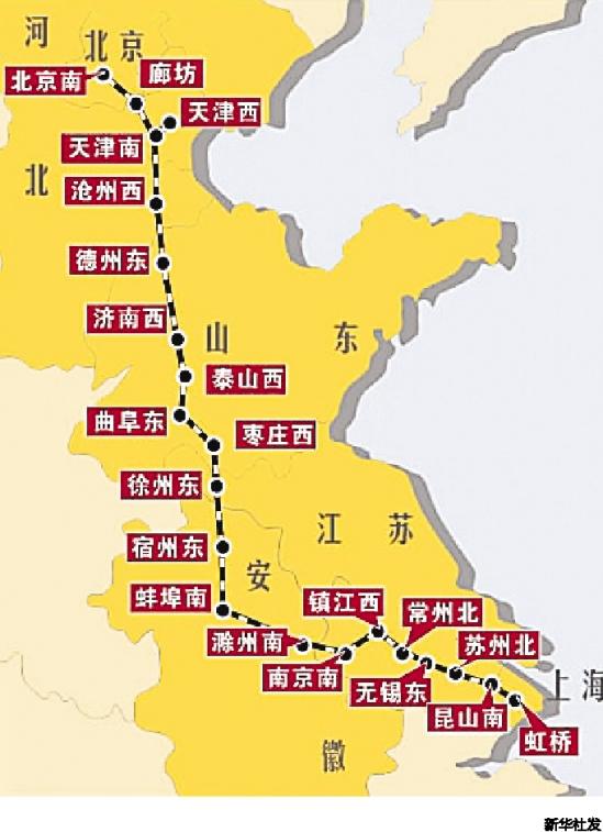 京沪高铁路线图