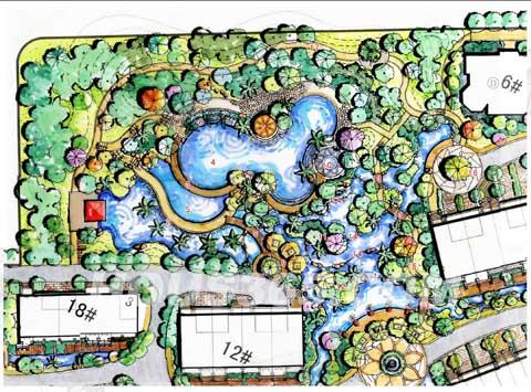 银河湾卓苑中心景观平面图