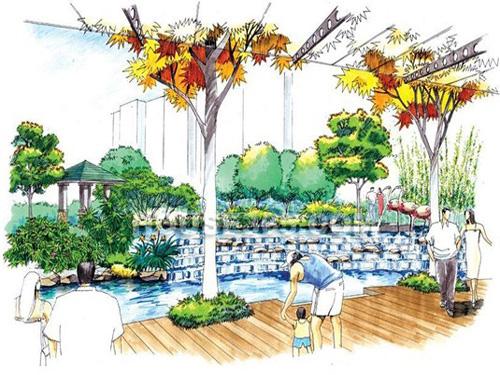 小区风景效果图; 公园手绘效果图; 园林手绘