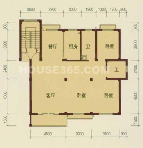 户型图 3室2厅1厨2卫高清图片