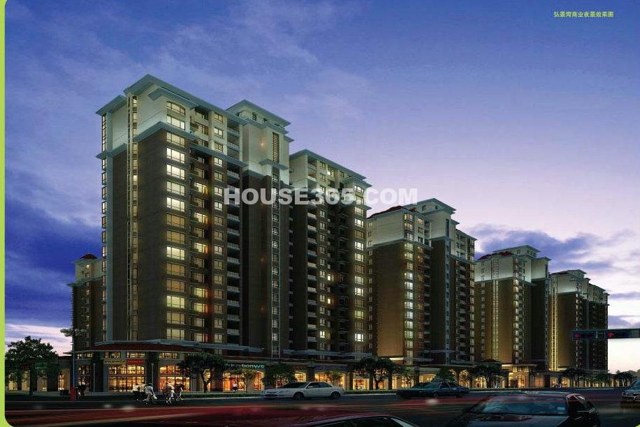 弘景湾的现代欧式建筑风格以简洁,线条分明,讲究对称,运用色彩的明暗