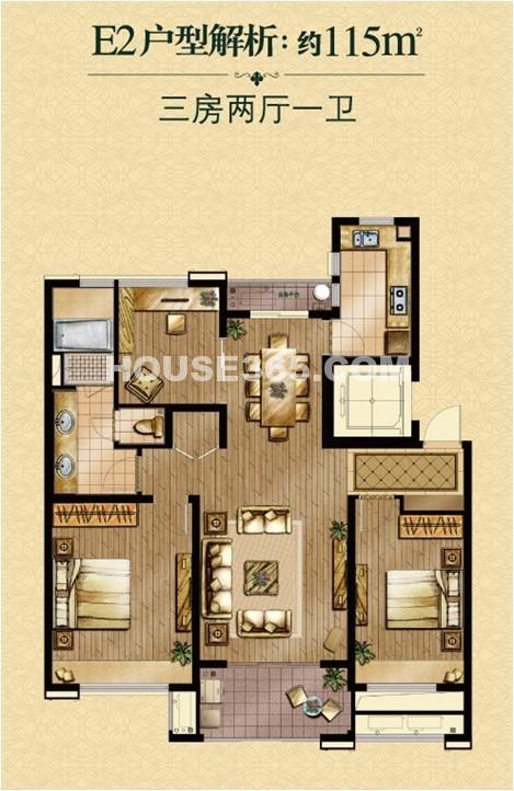 自建200平方米的房子兩房一廳一食廳一廚房設計圖展示