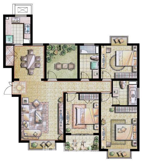 四房二厅二卫设计图展示