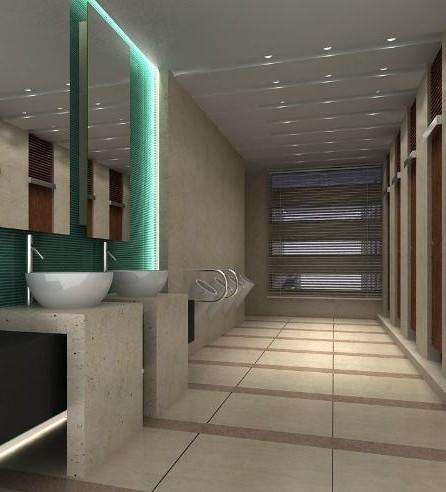 公共洗手间效果图 值得赏析的大气设计