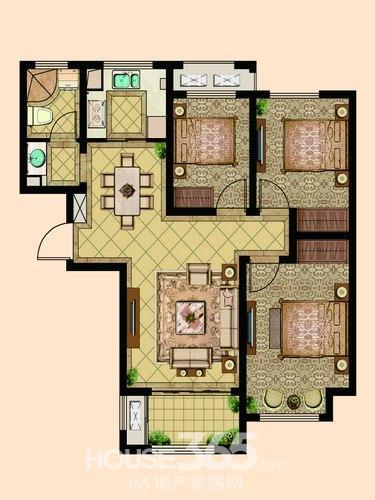 F3户型 三室一厅一厨一卫-伟星金域华府秒杀终结版 103㎡三居解析