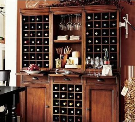 簡歐酒柜裝修效果圖:一個好的酒架是酒柜必不可少的