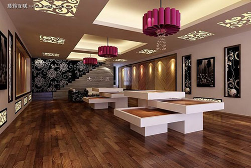 精心的设计 木地板店面装修效果图 高清图片