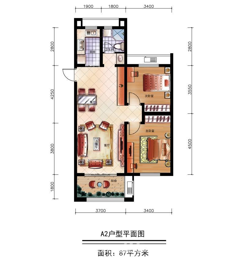两室两厅一厨一卫两阳台设计图展示