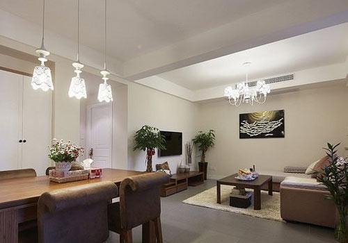90平米房屋装修效果图 书房客厅巧隔断高清图片