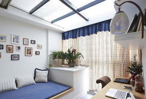 90平米房屋装修效果图 书房客厅巧隔断