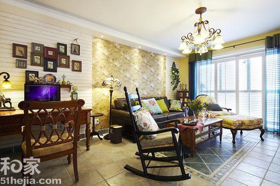 90平房子装修效果图 美式风格混搭复古家