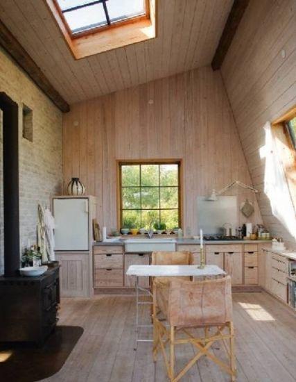 厨房装修效果图 原木厨房打造闲适田园风