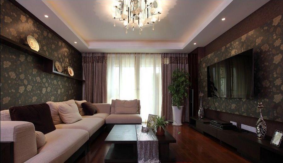 现代中式客厅效果图:白色沙发配上褐色花纹背景墙