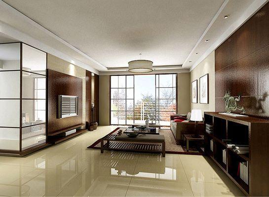 现代中式客厅效果图:简单的摆设,却不单调,宁静久远的心境体现.