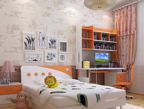 绿色的儿童房家具,选用以白色与绿色的双层儿童床,增加儿童房书柜,让