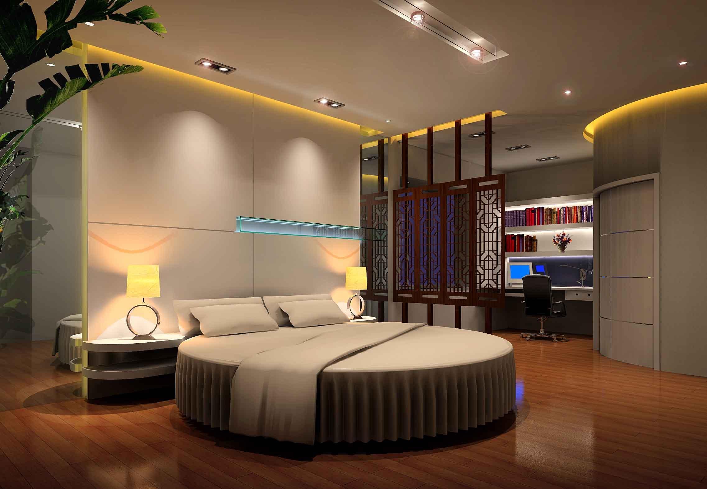 圆床房间装饰设计,圆床房间装修,圆床房间设计平面图,烟台 高清图片