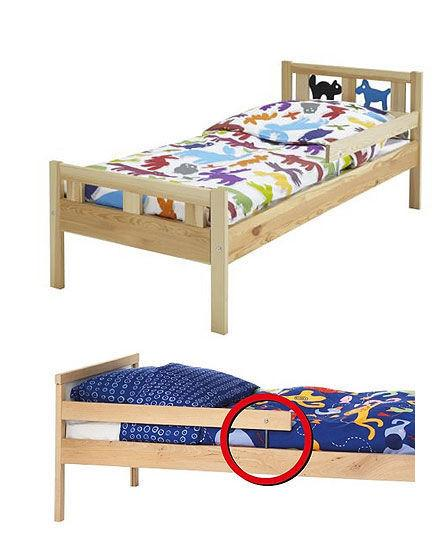 上为克丽特(KRITTER)儿童床,下为辛格莱(SNIGLAR)儿童床。红圈内为隐患部位。