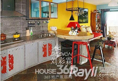 水泥灰厨房装修效果图水泥整体厨房