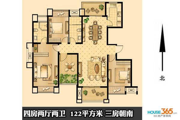 80平方四房一廳設計圖展示