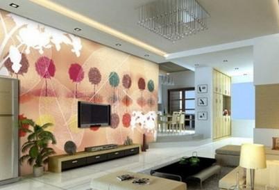 电视墙装修效果图欧式:很有活力色彩的电视背景墙设计,五彩缤纷的