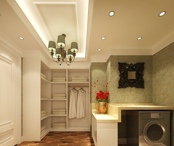 带衣柜兼书房的客房装修设计图展示