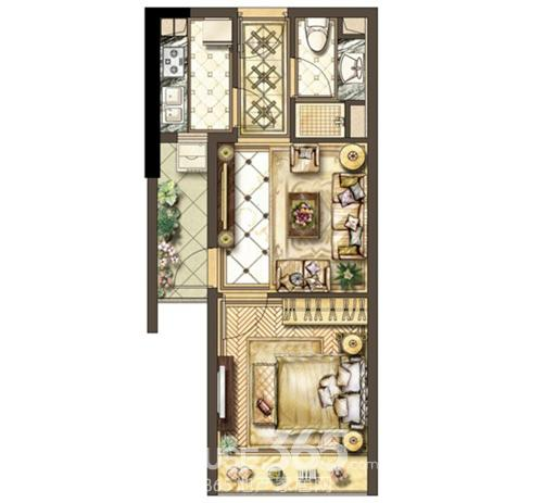 92平米兩室一廳一衛裝修設計圖展示