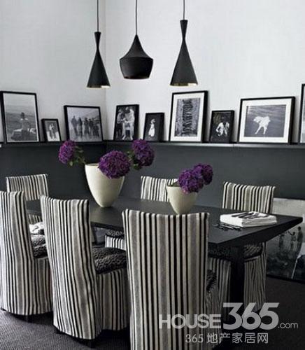黑白餐厅设计:条纹的椅布,黑白的照片,好有氛围