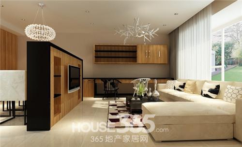 普通家庭客厅装修   以下这款客厅的设计以黑白、原木三色高清图片